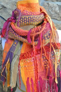 Bold Boho Gypsy Scarf by HandwovensbySherryK on Etsy, $90.00
