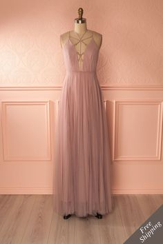 Kabéna #Boutique1861 / A maxi pink dress with a simple open-back proves a good taste ! #promdresses #bridesmaids