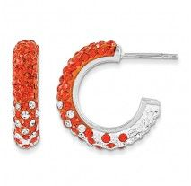 Spirit Collection- Orange and White Team Colors Sterling Silver Swarovski Elements Spirit Hoop Earrings