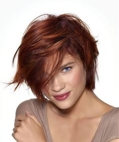 A medium red straight coloured multi-tonal messy bob hairstyle by Saint Algue