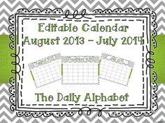 Gray Chevron w/ Green Accents Editable Calendar 2013-2014