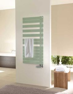 Zehnder Roda Spa Asym means to design and comfort for your bathroom. Delightful looks and practical asymmetric arrangement of its flat tubes, which allow for towels to be conveniently hung from the side. Decorative Radiators, Bathroom Radiators, Towel Radiator, Heated Towel Rail, Traditional Bathroom, Contemporary, Spa, Furniture, Home Decor