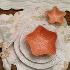 Ready for the Mermaid dinner party; first course Soup de la Mer in a brightly colored starfish bowl.  #mermaidparty #mermaidpartyideas  #starfishbowl http://beachhouselinens.com/collections/plates-tableware/products/starfish-medium-bowl