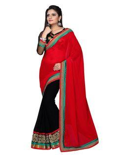 Georgette & Chiffon Zari & Border Work Black & Red Half & Half Saree