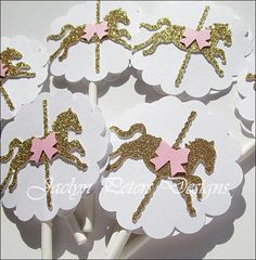 Our hand made carousel birthday party cupcake toppers are sparkling in gold glitter. Complete your party decorating with your choice of pastel bow accents. Carousel Birthday Parties, Carousel Party, First Birthday Party Themes, Unicorn Birthday Parties, Unicorn Party, Carousel Cupcakes, Birthday Ideas, Horse Cake Toppers, Cupcake Toppers