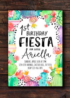Invite your guests with this beautiful colorful fiesta cactus birthday party invitation for a girl featuring watercolor cacti succulents and flowers. Perfect for a little girls birthday party or any other fiesta-themed event! Need your order within 1 Day? Order Rush Delivery: https://www.etsy.com/listing/387050410/rush-my-order-add-on-item Find Matching Book Requests, Diaper Raffle Tickets, Games & more here: https://www.etsy.com/shop/21Willo...