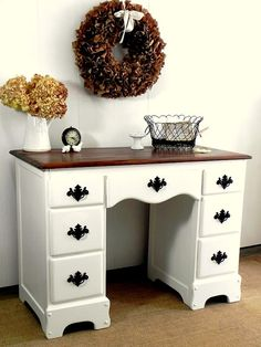 Country Furniture Home Office Computer Desk Or Dressing Table Vanity    Painted Vintage Furniture White With Dark Natural Top