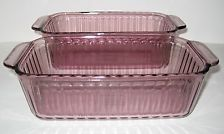 TWO Vintage Pyrex Bread / Meat Loaf Baking Pans Cranberry/Amethyst #213-S 1.5 Qt
