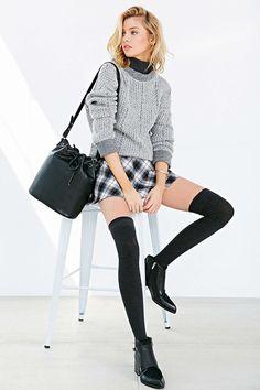 urban outfitters | fall fashion, knee high socks, plaid skirt, school prep