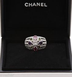 Chanel White Gold 18k Ring DOME SAN MARCO Diamond Amethyst Tourmaline Peridot Size 6   Shop: ebay.to/1viwyrq  #Chanel #Diamond #Jewelry #Gorgeous #Ring #French #Fashion #HighFashion #Accessories #Style #InStyle #alamode #chic #Consignment #luxury #Designer