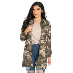 The Longline Camouflage Bomber jacket is a style staple that will forever be in fashion. Featuring a lightweight material with camouflage print throughout the longline style with button closure pockets, drawstring at hem and front zip up closure. Take it back to the 90s and channel your inner grunge girl by styling with a black maxi dress and lace up boots.  -Model is wearing a size Medium -All measurements taken from size medium laying flat -33.5 inches shoulder to hem -100% Polyester