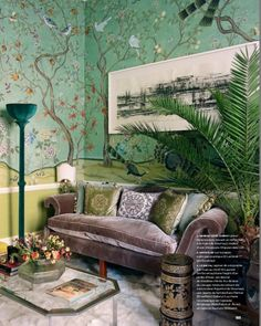 HBO's new series Sharp Objects looks to have some great set design. Including the use of a jade Chinoiserie DeGournay wallpaper. De Gournay Wallpaper, Chinoiserie Wallpaper, Hand Painted Wallpaper, Painting Wallpaper, Interior Design Advice, Interior Inspiration, Sunday Inspiration, Cool Apartments, Luxury Apartments