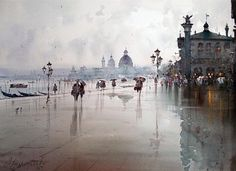 Dusan Djukaric After the rain in Venice, watercolor, 54x74 cm