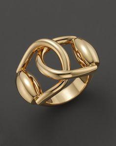 Gucci 18k yellow gold horsebit double ring