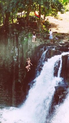 Jumping in a water fall? never done it before wort a try!!!
