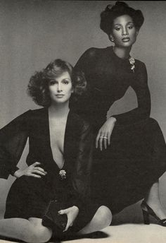 Karen Graham & Beverly Johnson  by Francesco Scavullo for Vogue US, 1974
