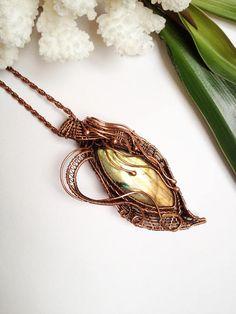Wire wrapped necklace Labradorite necklace Labradorite pendant
