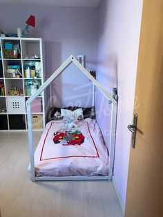Girls room idea with white bed, toddler bed, house bed, tent bed, children bed, wooden house, wood house, wood nursery, kids teepee bed, wood bed frame, wood house bed gift