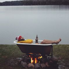coffeentrees:  Enjoying a uniquely Wisconsin hot tub on a cold day in the Northwoods  Submitted to our tumblr by hydewingman.com by patagonia