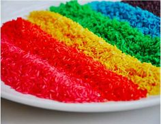 They can also have a blast playing with rainbow rice.