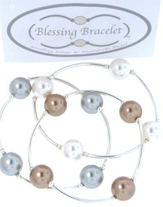 Blessing Bracelets-  White, Graphite and Bronze. All Swarovski Pearl and Sterling Silver. $30 each.