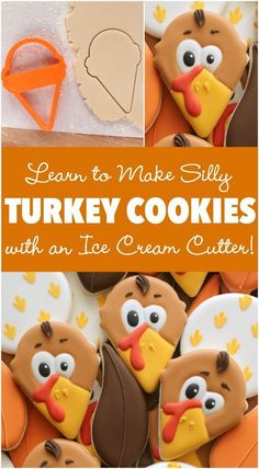 How to make cute Thanksgiving Turkey cookies with a simple ice cream cone cutter! How to make cute Thanksgiving Turkey cookies with a simple ice cream cone cutter! Turkey Cookies, Fall Cookies, Iced Cookies, Cute Cookies, Royal Icing Cookies, Holiday Cookies, Cupcake Cookies, Halloween Cookies Decorated, Christmas Desserts