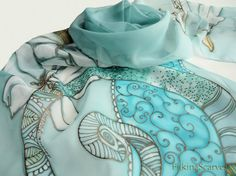 lilium Handpainted scarf Floral scarf Silk Painting Blue
