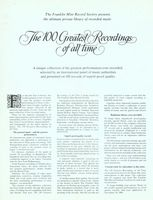 Franklin Mint 100 Greatest Recordings 1980 Ad Picture