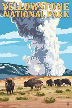 Yellowstone National Park - Old Faithful Geyser and Bison Herd (9x12 Art Print, Wall Decor Travel Poster) #affiliate