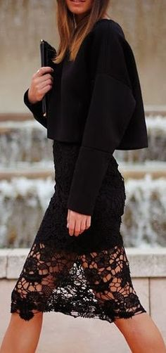 black cropped jacket with lace dress