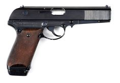 """A rare Berlin-Suhler Waffen und Fahrzeugwerke (""""BSW"""", formerly Simson & Companie) gas operated semi-automatic prototype, a competitor to the P.38 considered by the German military in the 1936-37 test trials. Several variations were assembled, and this double-action only version has a sheet metal slide, a matted alloy frame, and a double-column staggered 13-shot magazine. The pistol is marked """"BSW"""" on the left side of the slide."""