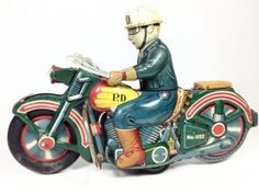 Vintage Tin Toy Pd Motorcycle Alps Friction 1950s Wind-up Antique Rare Japan 394