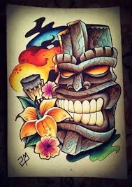 What does tiki tattoo mean? We have tiki tattoo ideas, designs, symbolism and we explain the meaning behind the tattoo. Tiki Tattoo, Hawaiianisches Tattoo, Mask Tattoo, Totem Tattoo, Maori Tattoos, Tribal Tattoos, Crow Tattoo Design, Tattoo Designs, Tattoo Ideas