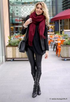 Black with a pop of color Maroon Scarf / Black Blouse / Black Blazer / Black Leather Pants / Black Heel Boots