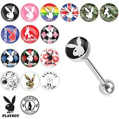 Playboy Bunny Logo Print Inlay 316L Surgical Steel Barbell (Sold Individually)