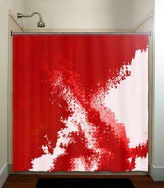 blood spatter red shower curtain bathroom decor by TablishedWorks, $65.00