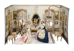 Splendid French Miniature Room with Very Fine Gilt Bronze and Silk Furnishings