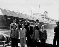 Students & their priest before boarding the Andrea Doria