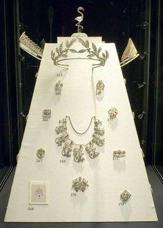 An exhibition of Faberge's tiaras at Wartski in 2006. Featuring the Diamond and blue enamel tiara, the Westminster Myrtle Leaf tiara, the Russian Kokoshnic diamond lattice tiara and the Cyclemen tiara as a necklace.