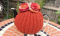 Hand knitted Flower Tea Cosy 4-6 cup teapot by LittleDaisyKnits