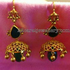 Gold Jumkis with Pota Emeralds | Jewellery Designs