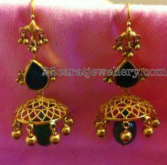 Gold Jumkis with Pota Emeralds | Jewellery Designs