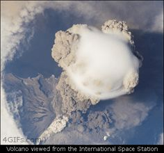 Funny pictures about International Space Station View Of Sarychev Volcano Near Japan. Oh, and cool pics about International Space Station View Of Sarychev Volcano Near Japan. Also, International Space Station View Of Sarychev Volcano Near Japan photos. Volcan Eruption, Erupting Volcano, International Space Station, Earth From Space, Out Of This World, Science And Nature, Science Gif, Science Space, Life Science