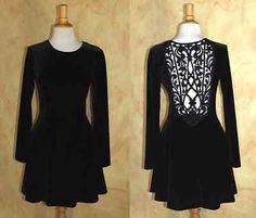 J-McClintock-Sz-10-Amazing-Little-Black-Velvet-Lace-Cut-Away-Lattice-LS-Dress