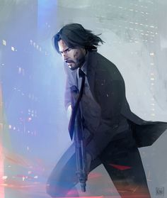 Art of Koni - Concept Artist & Illustrator - - John Wick John Wick Hd, John Wick Movie, Keanu Reeves John Wick, Keanu Charles Reeves, Caricatures, John Week, Keanu Reaves, Movie Poster Art, Fantasy Creatures