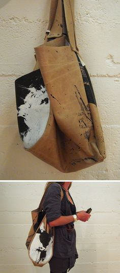 hand-painted leather bags.  love this