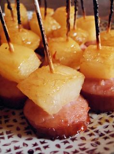 Glazed Pineapple Kielbasa Bites | foodsweet | foodsweet