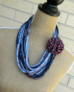 Upcycled Necktie Necklace Recycled Mens Tie Circle Scarf by Klosti