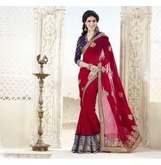 Red colour Georgette material designer saree