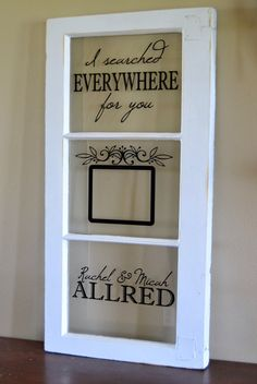Items similar to Old window picture frame for wedding, anniversary on Etsy Window Frame Crafts, Old Window Art, Antique Window Frames, Old Window Projects, Antique Windows, Old Windows, Window Ideas, Vinyl On Glass, Old School Tattoo Designs